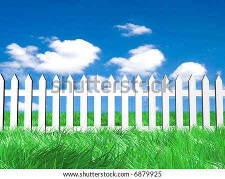 Fresh green grass on blue sunny sky background