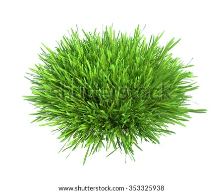 Fresh green grass piece of land isolated on white background. - stock photo