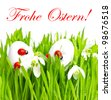 fresh green grass with easter eggs on white background. frohe ostern! german card concept - stock photo