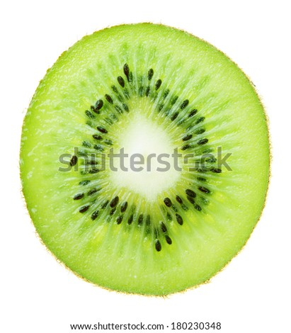 Fresh green kiwi slice isolated on white background