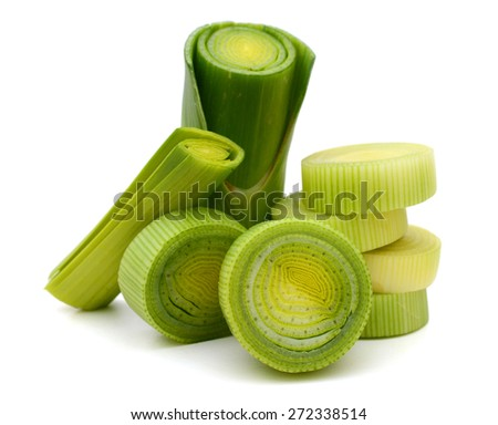 fresh green leek sliced on white background  - stock photo