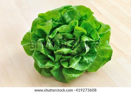fresh green lettuce from above - stock photo