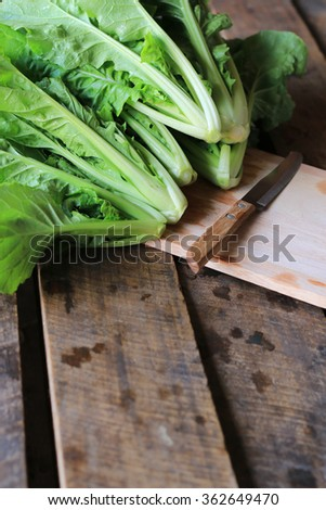 Fresh green lettuce on a kitchen cutting board