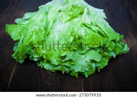 Fresh green lettuce  on the dark wooden table - stock photo