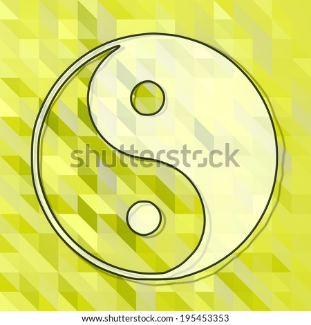 fresh green low poly triangle ying yang sign with art background