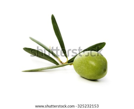 Fresh green olive isolated over white background