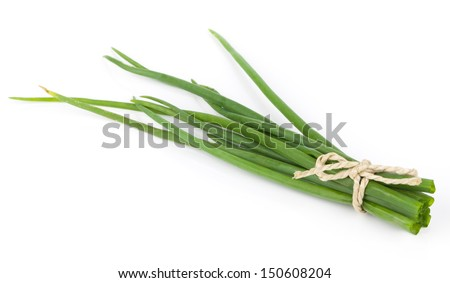fresh green onions isolated on white background - stock photo