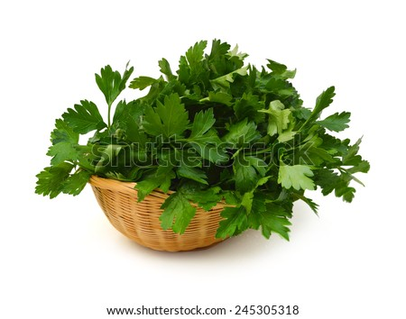 Fresh green parsley isolated in basket on white background, food ingredient - stock photo