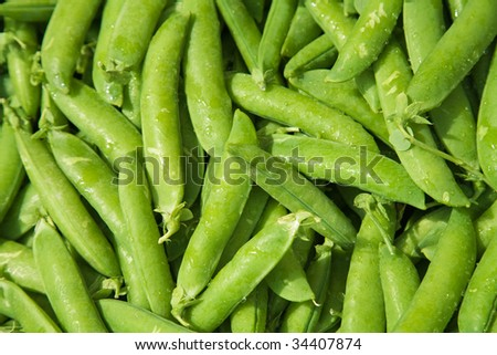 fresh green pea pods, marketplace, background