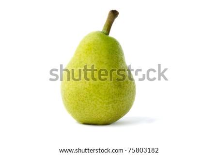 Fresh green pear on white background - stock photo
