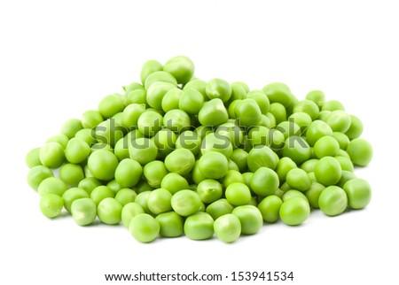 fresh green peas isolated on a white background. Studio photo - stock photo
