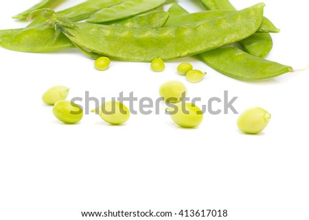 fresh green peas, sugar Pea, Sweet peas, Garden Pea, snow peas, seed peas, Pea pale on white background, and Blur blurred the background. select focus front nuts. - stock photo