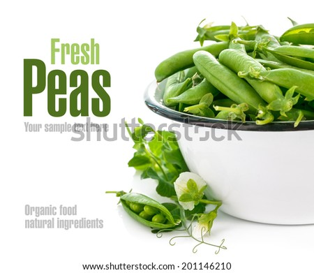 Fresh green peas with leaf and flower. Isolated on white background - stock photo