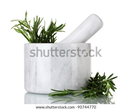 fresh green rosemary in mortar isolated on white - stock photo