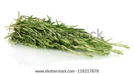 fresh green rosemary isolated on white - stock photo