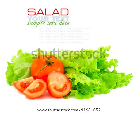 Fresh green salad and tomatoes isolated on white background