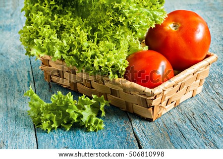 Fresh green salad lola rossa and tomatoes on blue wooden background.