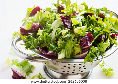 Fresh green salad mix  in metal colander on white background - stock photo