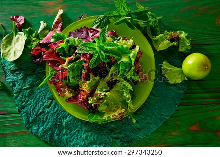 Fresh green salad with spinach lettuce on monochrome rustic wood table - stock photo
