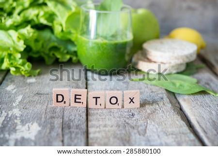 Fresh green smoothie.Detox concept - stock photo