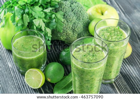 Fresh green smoothie from fruit and vegetables, healthy eating, selective focus