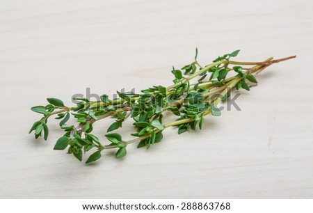 Fresh green thyme on the wood background - stock photo
