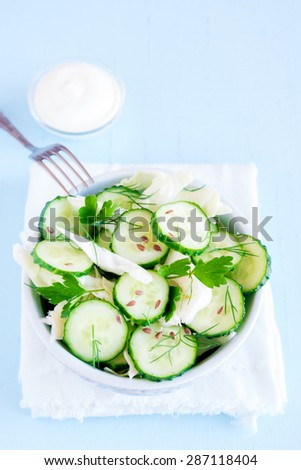 Fresh green vegetable salad with cucumber, cabbage, herbs and flax seeds - stock photo