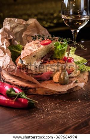 Fresh Grilled Panini Sandwich - stock photo