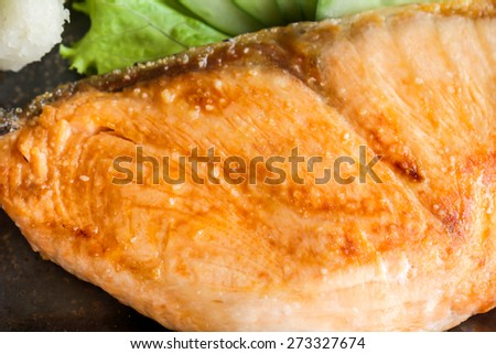 Fresh grilled salmon steak or fillet for a healthy diet  - stock photo