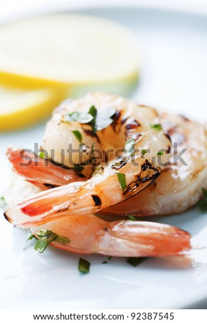 fresh grilled shrimps close up - stock photo