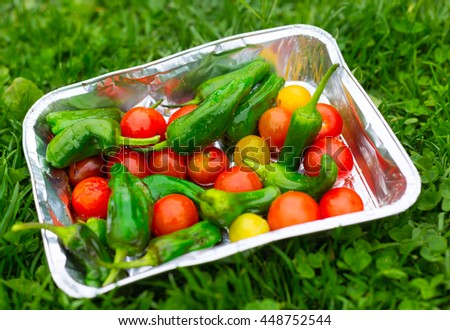 fresh grilled vegetables variety in metallic foil with herbs, olive oil and salt outdoors on green lawn - stock photo