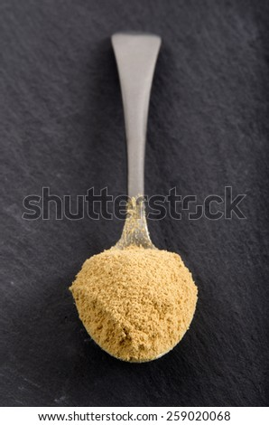 fresh ground ginger powder on a spoon - stock photo