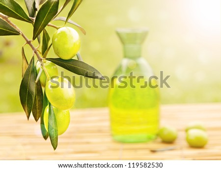 Fresh growing olives and olive oil