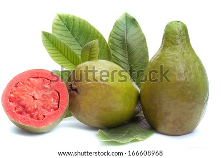 Fresh Guava fruit with leaves on white background  - stock photo