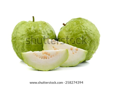 fresh guava on white background - stock photo