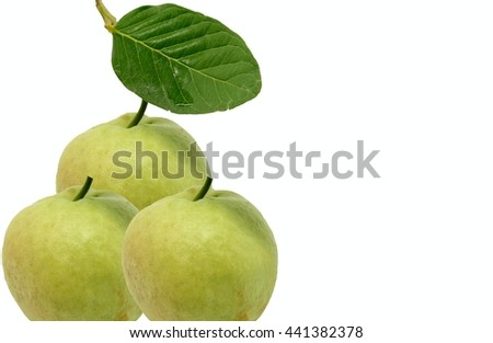 Fresh guavas on white background
