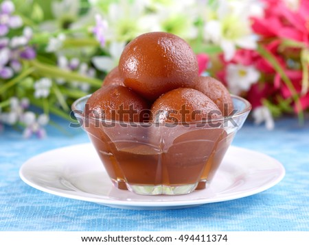 Fresh Gulab Jamun in beautiful crystal bowl