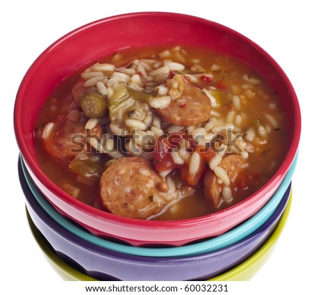 Fresh Gumbo with Okra Soup, a Warm Fall Treat. - stock photo