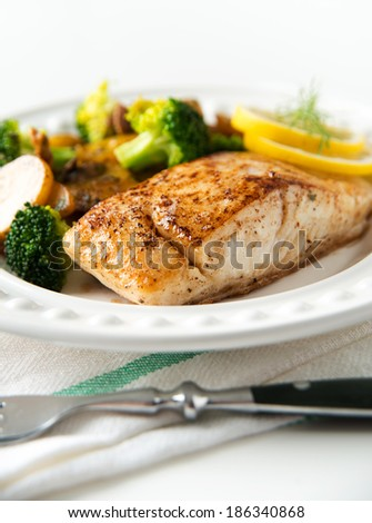 Fresh Halibut Grilled and Served with Vegetables