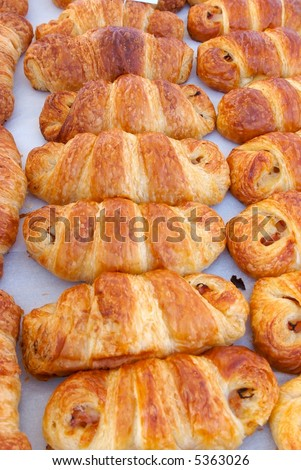 Fresh ham and cheese croissants at farmers Market