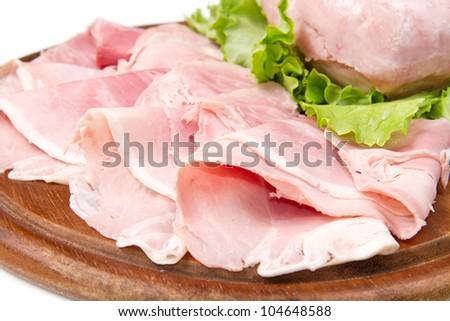 fresh ham on wooden board - stock photo