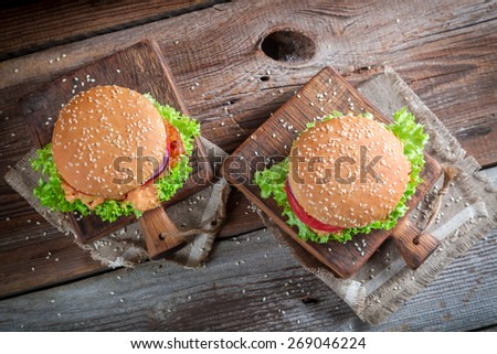 Fresh hamburger with chicken - stock photo