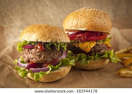Fresh hamburgers with fries - stock photo