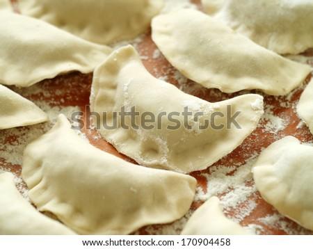 Fresh, hand made dumplings   - stock photo
