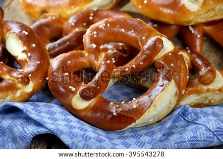 Fresh handmade original Bavarian pretzels from the domestic master baker - stock photo