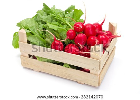 Fresh harvested red radish in wooden crate