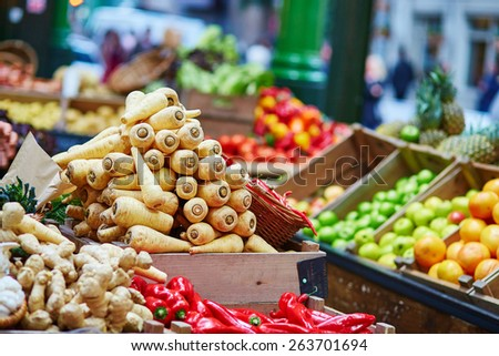 Fresh healthy bio parsnip on London farmer agricultural market - stock photo