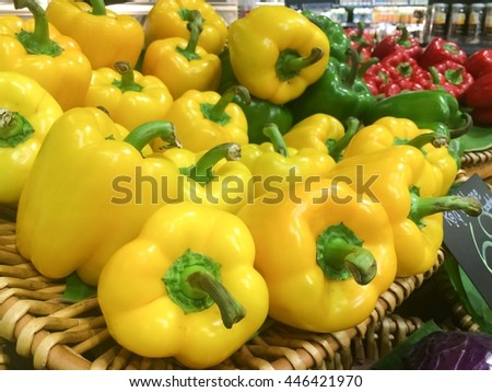 Fresh healthy bio yellow and red paprika in the market - stock photo