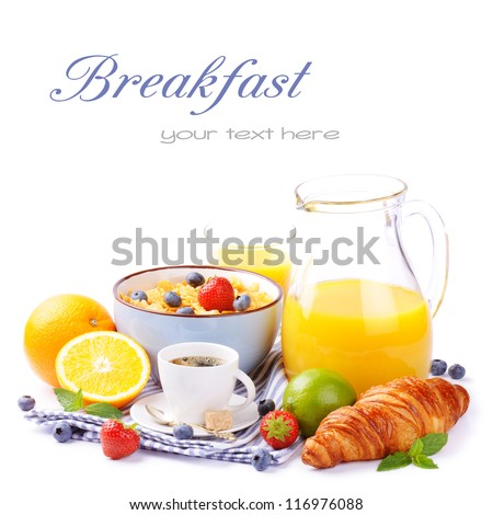 Fresh healthy breakfast with copyspace isolated over white - stock photo