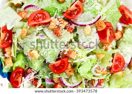 Fresh healthy Classic Caesar salad on plate. close up - stock photo